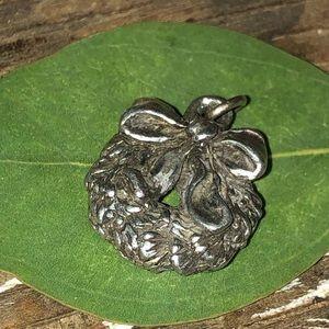 Vintage Sterling or Pewter Wreath Pendant